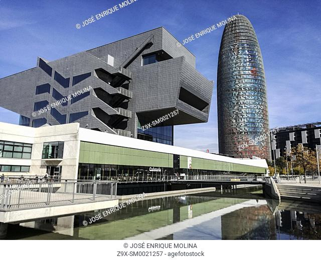 Spain Barcelona Contemporary architecture in the area 22@.Agbar Tower and the Museum of design