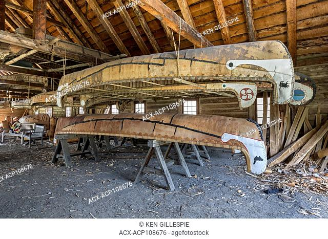 Birch bark canoes in the Canoe Shed building, Fort William Historical Park, Thunder Bay, Ontario, Canada