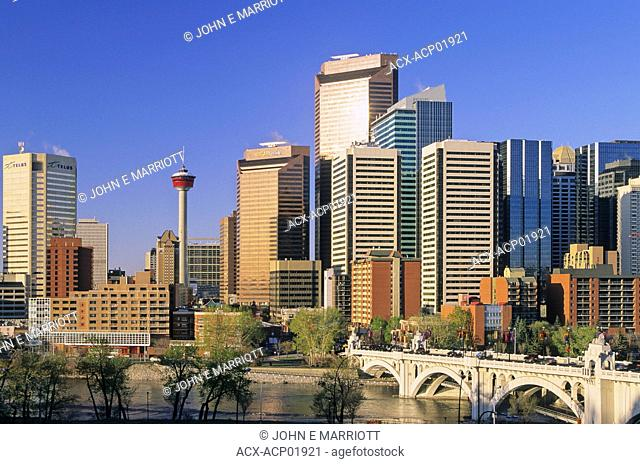 The Calgary Tower, the Bow River and the Calgary skyline on a beautiful spring day, Calgary, Alberta, Canada