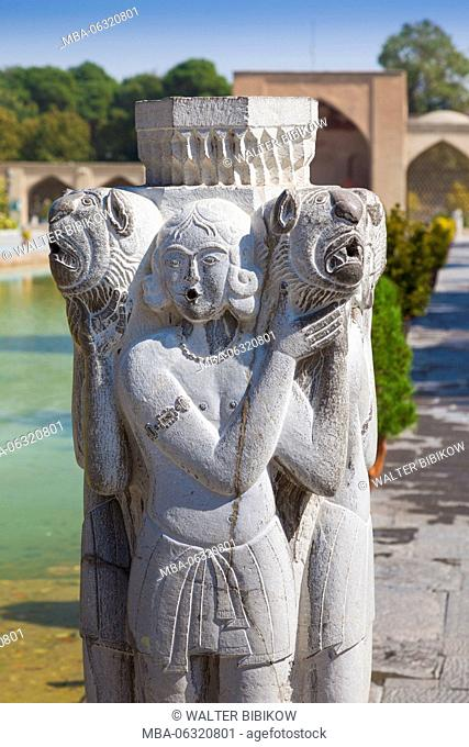 Iran, Central Iran, Esfahan, Decorative Arts Museum, courtyard statue