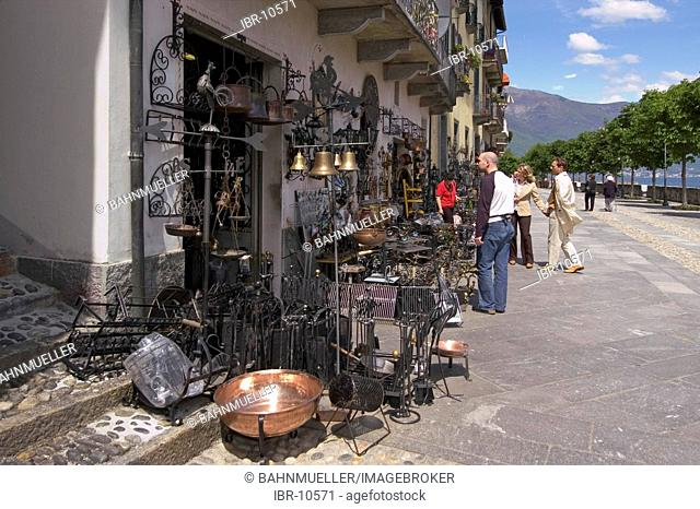 Cannobio at the Lake Maggiore Lago Maggiore Piedmont Piemonte Italy metal work handcraft shop