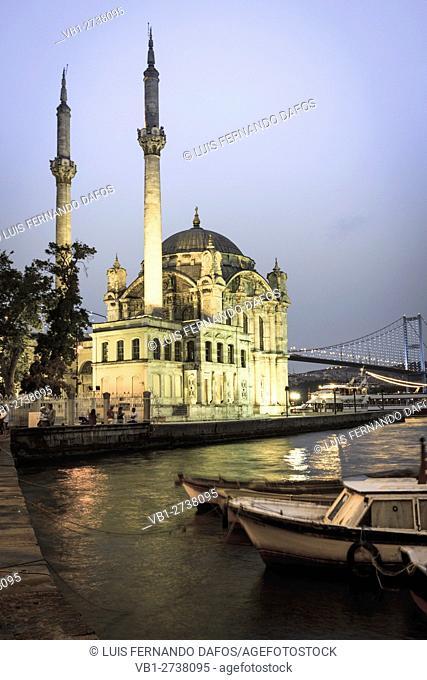 Ortakoy mosque at dusk, Istanbul, Turkey