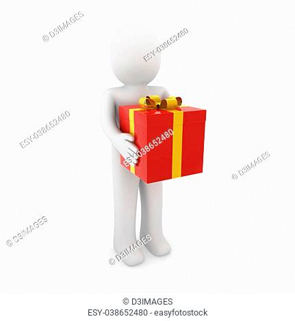 3d human gift box red gold christmas white background