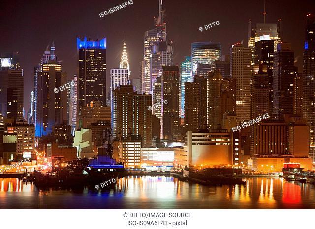 Manhattan waterfront at night, New York City, USA