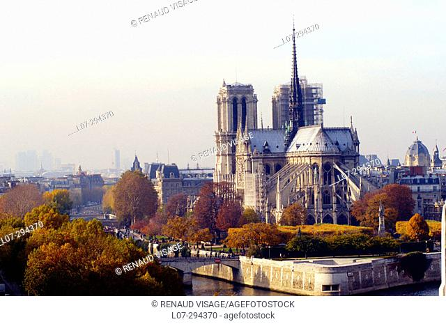 Notre Dame and fall colors. Paris. France