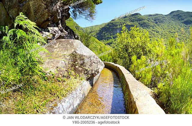 Levada das 25 Fontes, irrigation canal, Rabacal, Madeira, Portugal