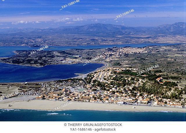 Port Leucate/Leucate Plage villages and Salses lake, Aude, Languedoc-Roussillon region, France