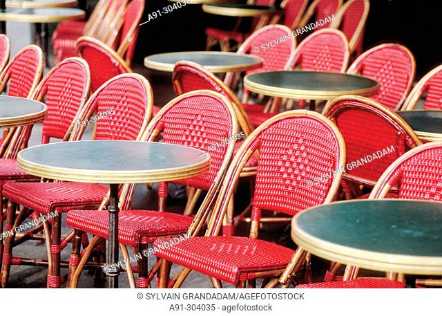 Empty tables of outdoor cafe at Bastille Square. Paris. France