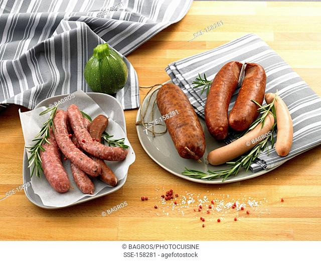 Variety of sausages