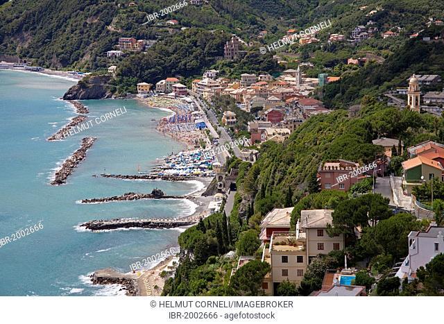 Village overview, harbour and beach, Moneglia, Genoa Province, Liguria, Italian Riviera or Riviera di Levante, Italy, Europe