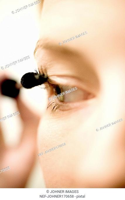 Close-up on an eye and mascara