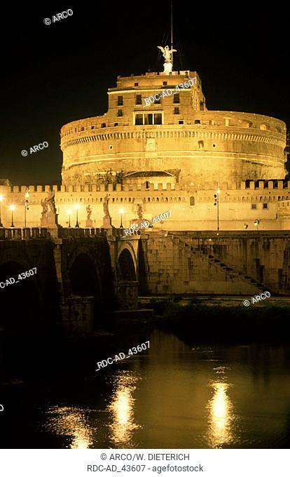 Bridge Ponte San Angelo and Castello di Angelo at night Rome Italy