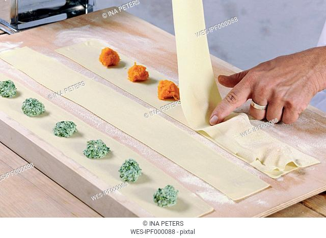 Producing homemade tortelloni with apinach ricotta and pumpkin filling
