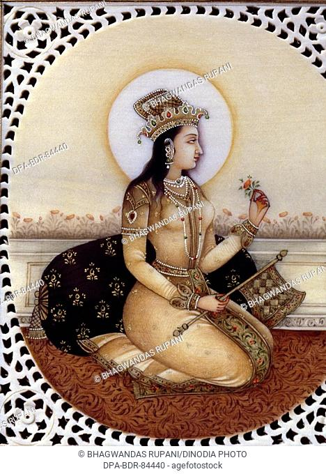 Miniature Painting on ivory of princess Mumtaz mahal wife of Mughal Emperor Shah Jahan