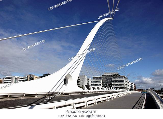 Republic of Ireland, Dublin City, Dublin. Samuel Beckett Bridge, a cable-stayed bridge that joins Sir John Rogerson's Quay to North Wall Quay across the River...