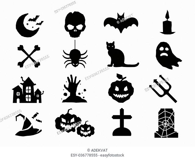 Halloween icons set. Pumpkin head, witch broom, candy halloween hat. Black halloween icons set, halloween silhouette for halloween party design