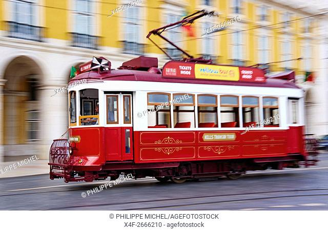 Portugal, Lisbon, tram at Praca do Comercio, or Commerce Square