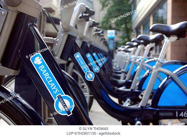 England, Greater London, London. Barclays Cycle Hire bikes parked in a docking station