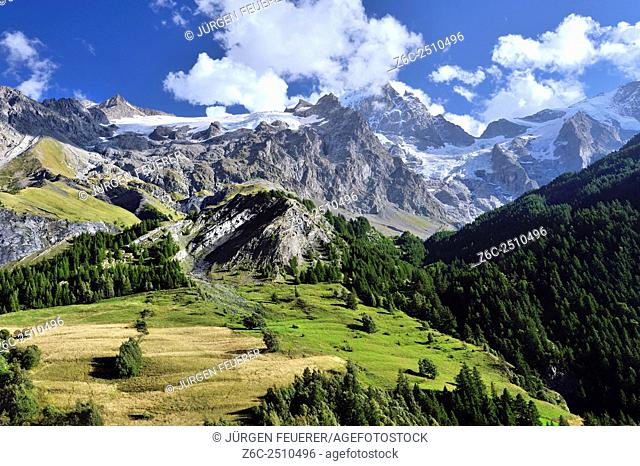 Landscape of the French Alps with Mountain La Meije, Écrins, Hautes-Alpes, French Alps, France
