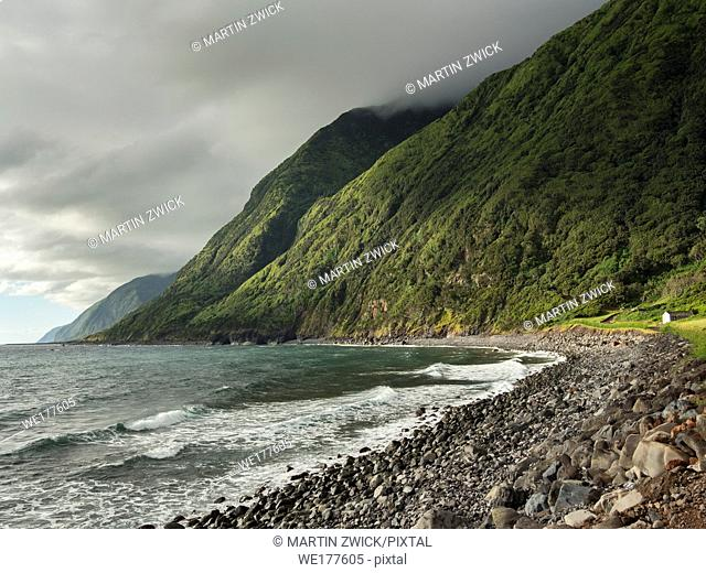 Faja dos Cubres . Sao Jorge Island, an island in the Azores (Ilhas dos Acores) in the Atlantic ocean. The Azores are an autonomous region of Portugal