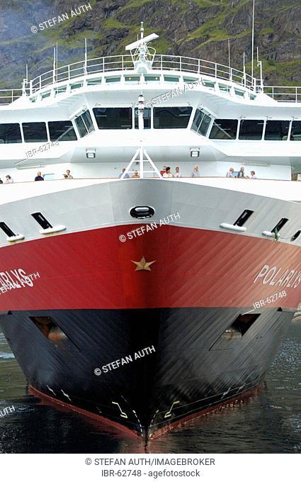 Bow of Hurtigruten ferry Polarlys in the port of Stamsund Lofoten Norway