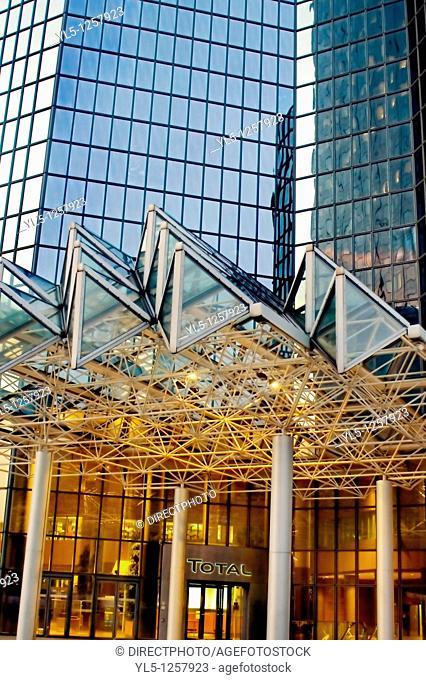 Paris, France, La Défense Business Center, Total Corporate Headquarters at Night