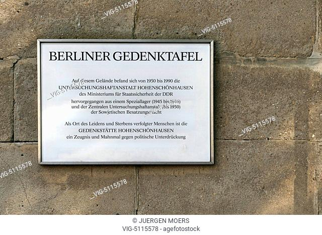 06.10.2014, Germany, Berlin, detention center Berlin-Hohenschoenhausen of the GDR (MfS) . - Berlin, Germany, 06/10/2014