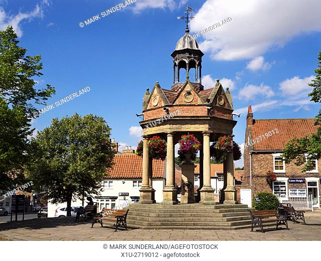 Market Cross with Old Water Pump known as The Fountain in St James Square Boroughbridge Yorkshire England