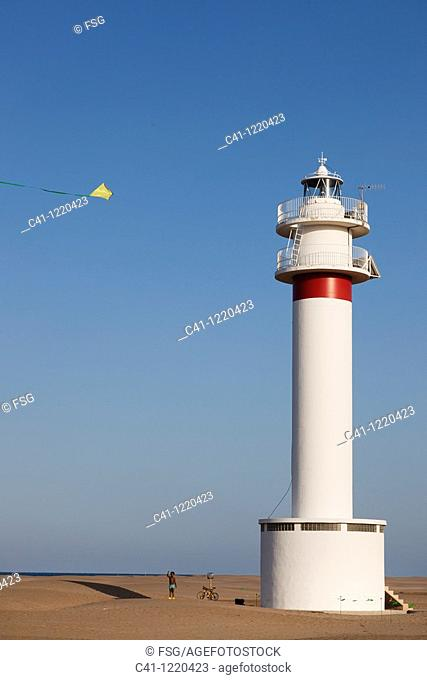 Lighthouse, Punta del Fangar, Ebro River Delta, Tarragona Province, Catalonia, Spain