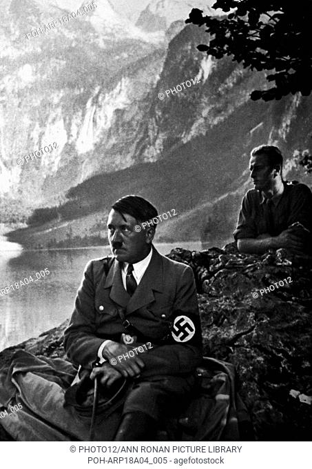 Adolf Hitler 1889-1945. German politician and the leader of the Nazi Party with local supporters at a lakeside viewing spot at Berchtesgaden World History...