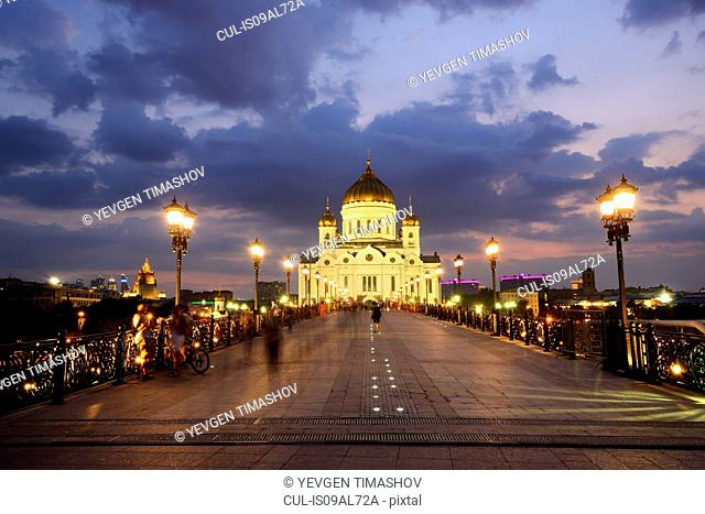 View of Cathedral of Christ the Saviour and Patriarshy Bridge at night, Moscow, Russia