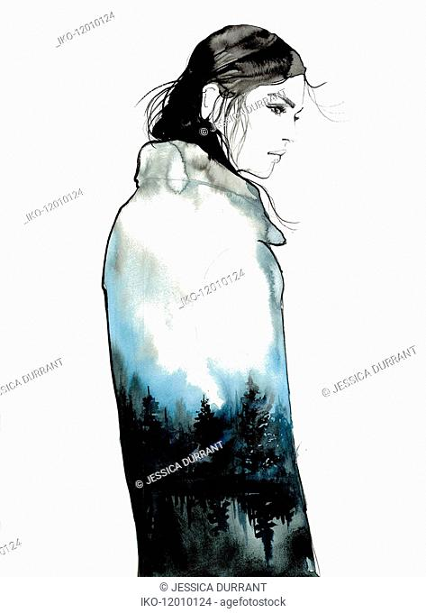Sad young woman wearing coat with tree pattern