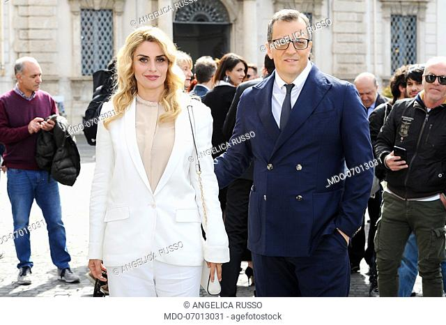 The italian director and screenwriter Gabriele Muccino and his wife and costume designer Angelica Russo arrive to the Quirinale for the nomination of the 64th...
