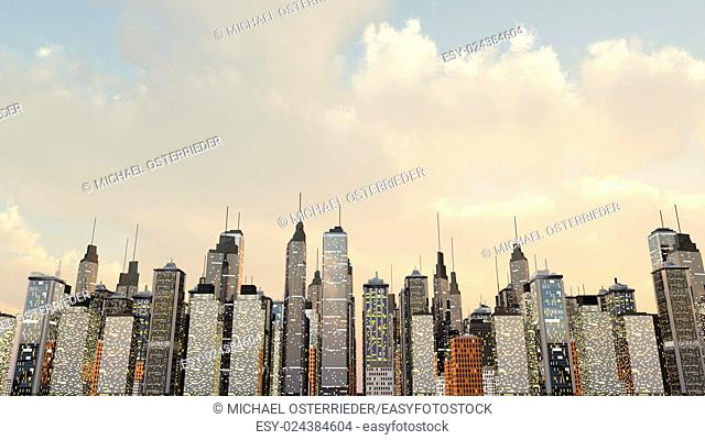 A big generic city under a moody green sky. 3D rendered Illustration