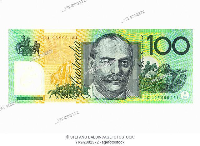 Australian one hundred dollar banknote on a white background