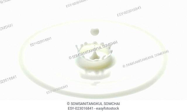 milk drop or white liquid drop created ripple wave and splash in crown shape