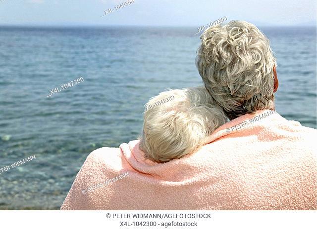 happy senior couple on summer holiday