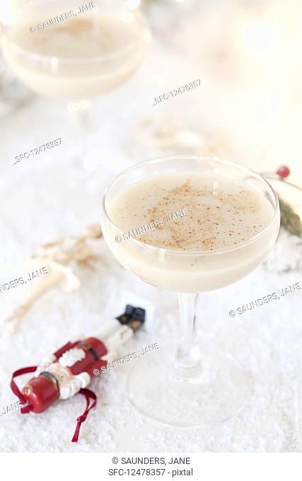 A Christmas Nutcracker cocktail with white chocolate liqueur