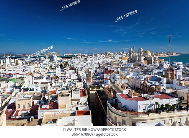 Spain, Andalucia Region, Cadiz Province, Cadiz, elevated city view with the Cathedral from the Torre Tavira tower