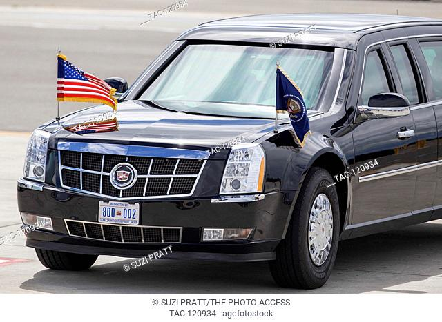 The Presidential State Car awaits at Seattle-Tacoma International Airport on June 24, 2016 in Seattle, Washington