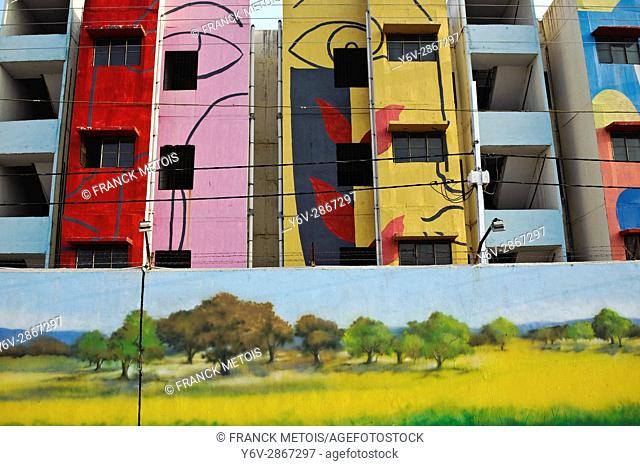 Mural painting + residential buildings under construction at Raipur ( Chhattisgarh state, India)