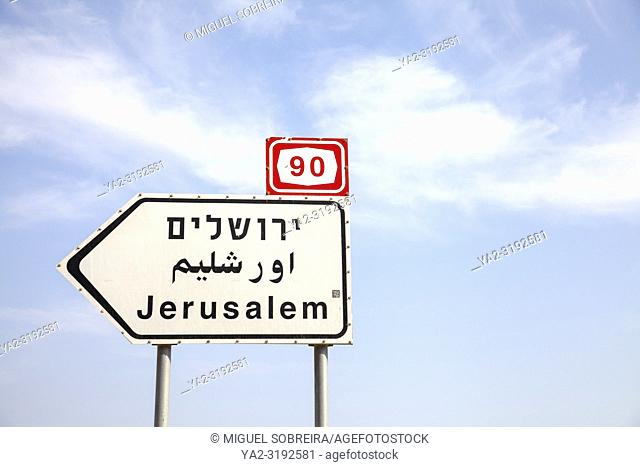 Directional Sign for Jerusalem in Israel