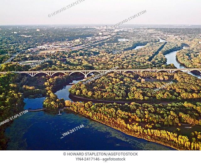 Highway 55 bridge over the Minnesota River near Minneapolis and St. Paul. Snelling lake is foreground