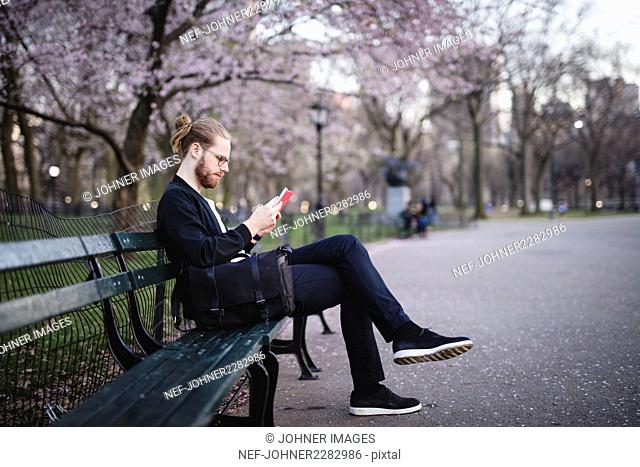 Man reading on bench in park