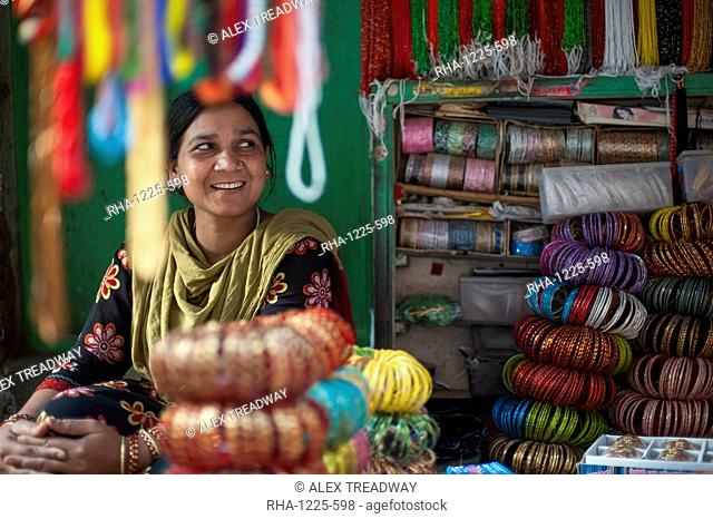 A bangle stall in Patan, an historical part of Kathmandu, Nepal, Asia