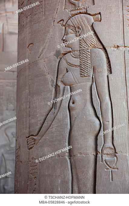 Representation of the goddess Hathour, Hathor in a pillar in the Kom Ombo temple at the Nile, Africa, Upper Egypt