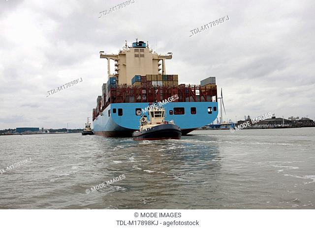 A container ship turning to port, sea level