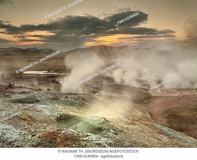 Geothermal area near The Hverahlidarvirkjun Power Plant, Hellisheidi, Iceland
