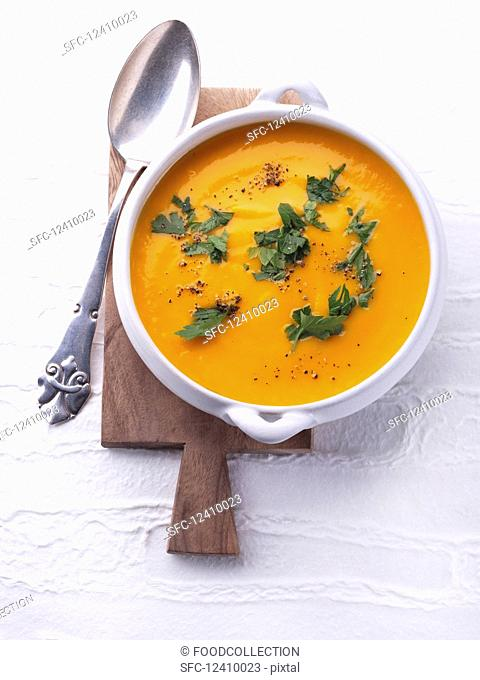 Sweet potato soup with herbs
