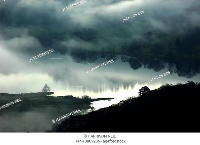 England, cumbria, grasmere, winter, scenery, lake district, water, reflection, fog, mood